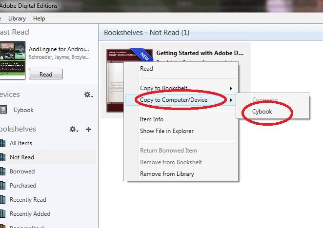 V Adobe Digital Editions pošljemo knjigo na bralnik nekako takole