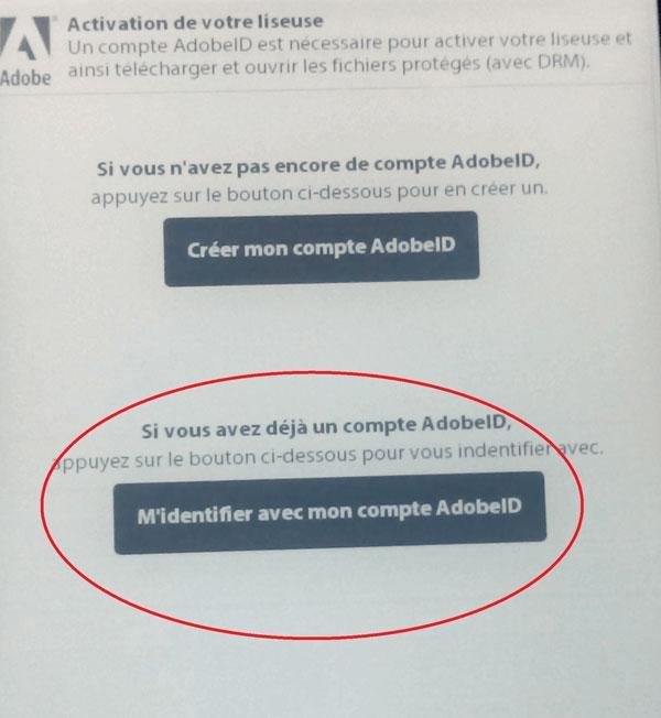 Prijava v Adobe DRM v francoščini