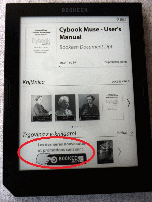 Za Adobe DRM je na Cybooku potreben zagon Bookeen knjigarne