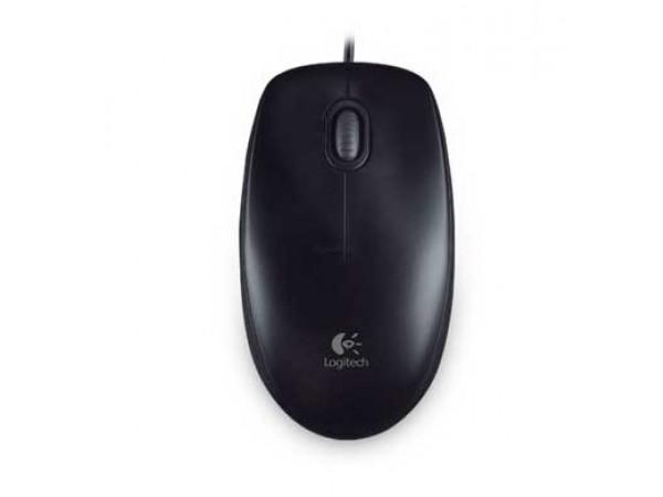 Miška Logitech OEM B100 je udobna žična miška, oblikovana za obe roki.