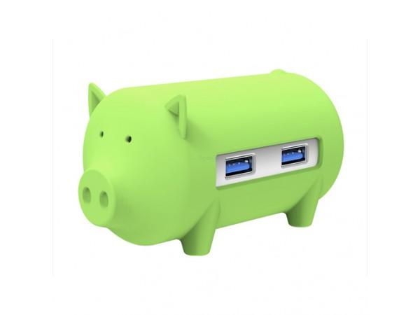 USB razdelilec s 3 vhodi, USB 3.0, čitalec kartic, OTG, ORICO Little pig, zelen