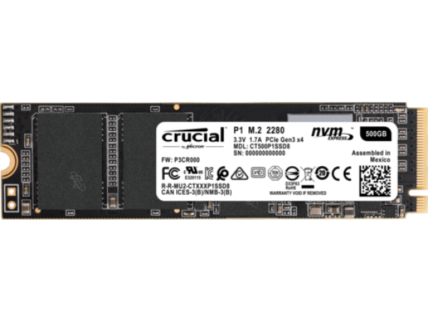 SSD 500GB M.2 80mm PCI-e 3.0 x4 NVMe, 3D QLC, CRUCIAL P1