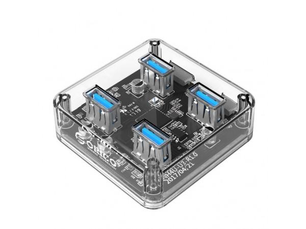 USB razdelilec ORICO MH4U s 4 vhodi, USB 3.0 (prozoren)