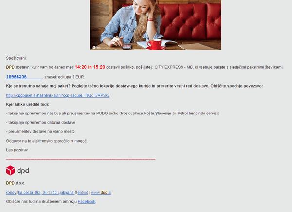 Primer obvestila po e-pošti na dan prevzema paketa