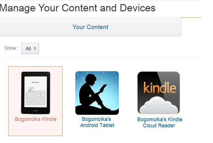 Primer uporabe Amazonovega ekosistema na osebnem računalniku, tabličnem računalniku in e-bralniku Kindle