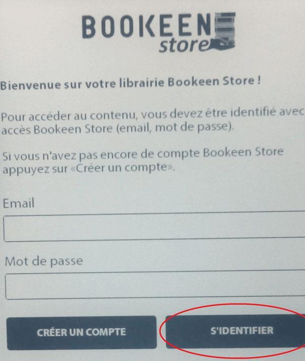 Prijava Cybook v Bookeen store je v francoskem jeziku